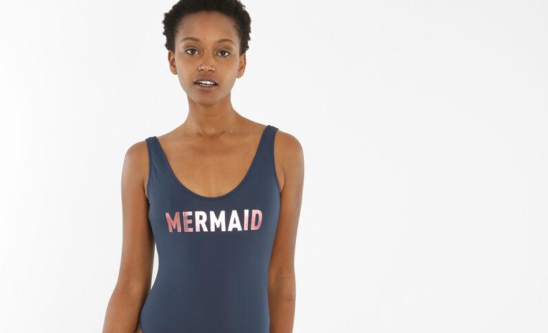 Badeanzug mit Schriftzug Blau
