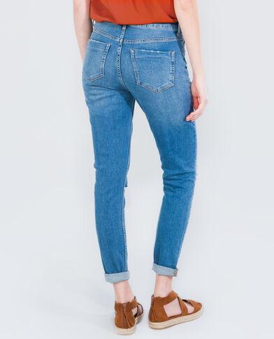 Jeans mit hoch angesetzter Taille Denimblau