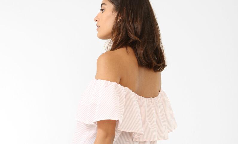 Blouse rayée à col bardot rose