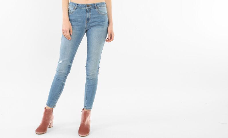 Jeans skinny destroy blu