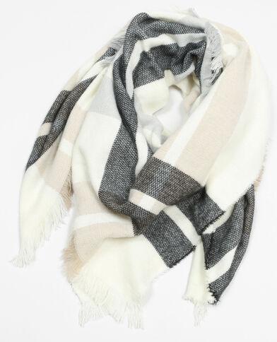 Bufanda manta de cuadros blanco