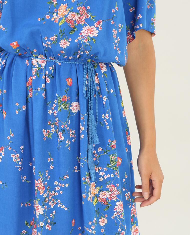 Schön fallendes Kleid mit Peekaboo-Ärmeln Blau