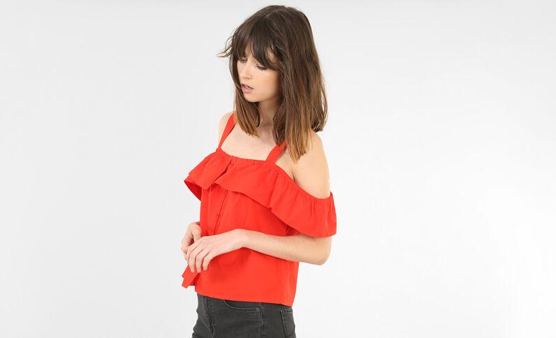 Camicia con volant rosso