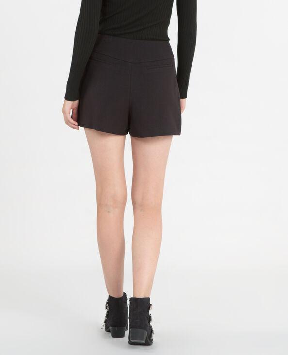 Short taille haute zippé noir