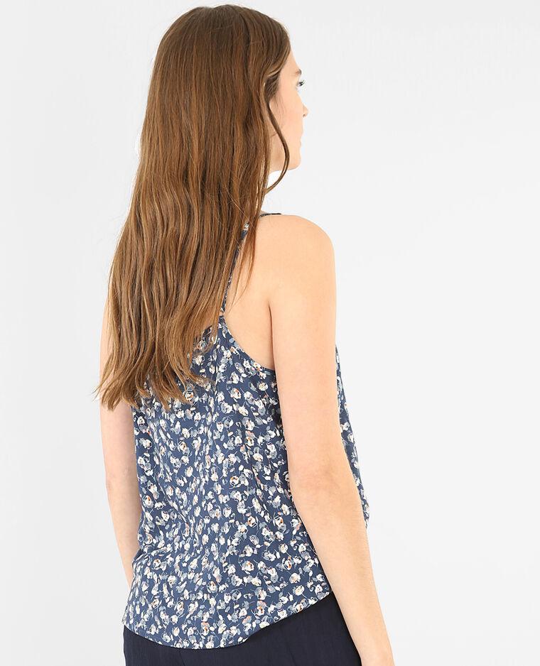 Camiseta homewear estampado de flores azul índigo