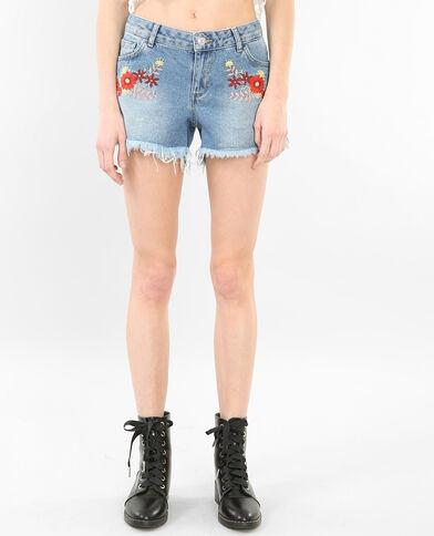 Short en jean brodé bleu