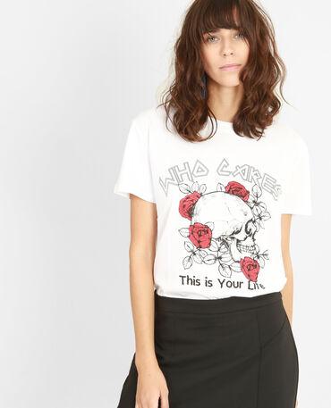 T-shirt tête de mort glitter blanc