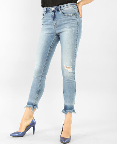 Jean skinny frangé à œillets bleu