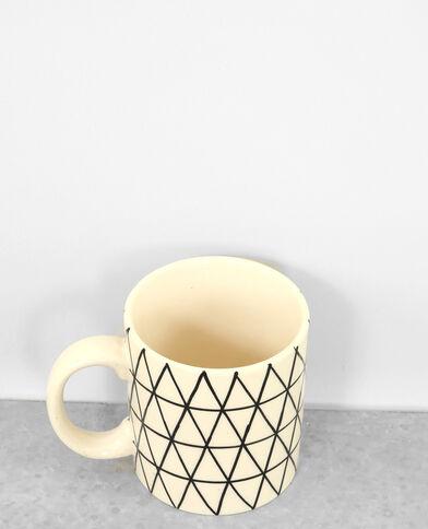 Mug met geometrische print ecru