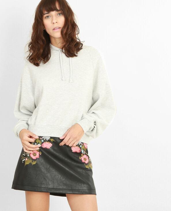 Kurzes Sweatshirt mit Kapuze Grau meliert