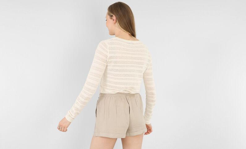 Leichter Pullover mit Ajour-Muster Altweiß