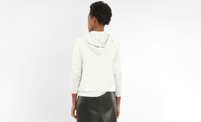 Sweater met rits en kap gemêleerd grijs