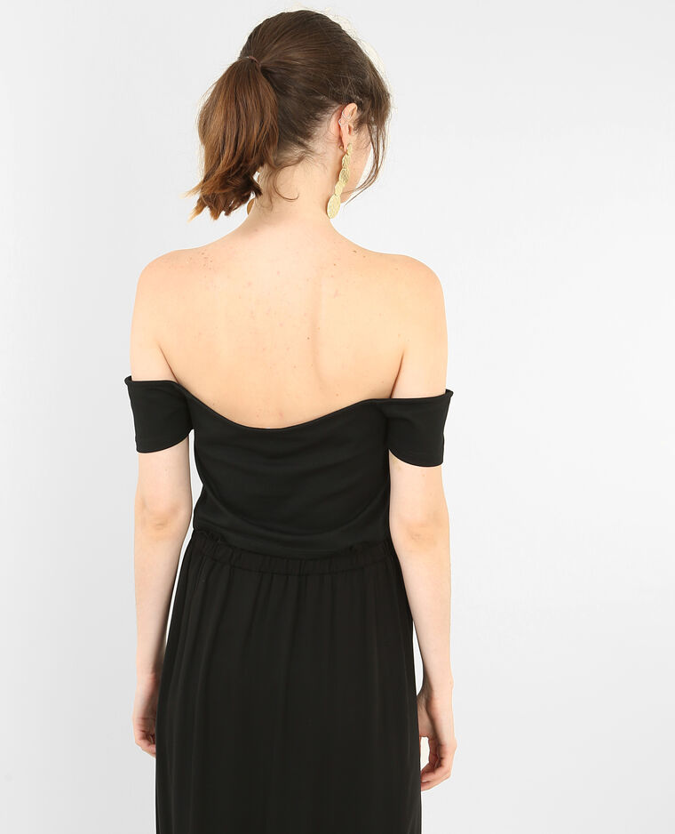 Cropped top à manches courtes noir