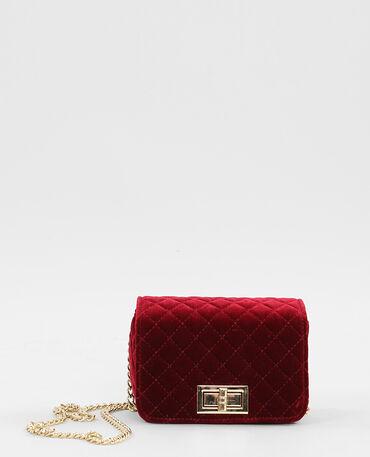 Mini sac boxy velours matelassé grenat