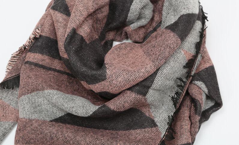 Plaid-Schal mit geometrischen Motiven Rosa