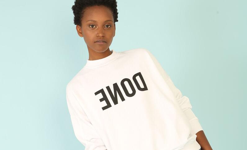 Sweatshirt mit Schriftzug Weiß