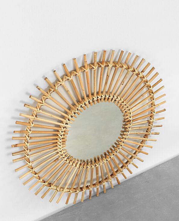 Sonnen-Spiegel in Peddigrohr Taupebeige