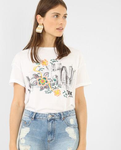 Kurzärmeliges besticktes T-Shirt. Weiß