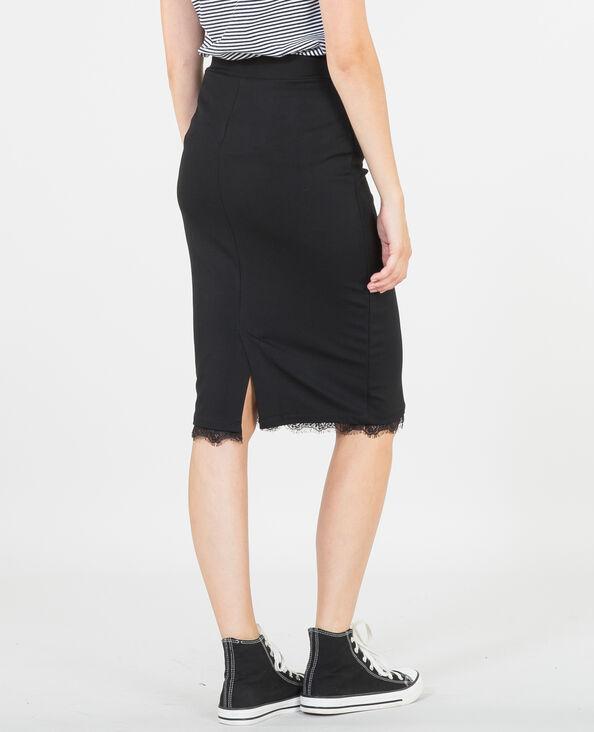 Falda midi con encaje negro