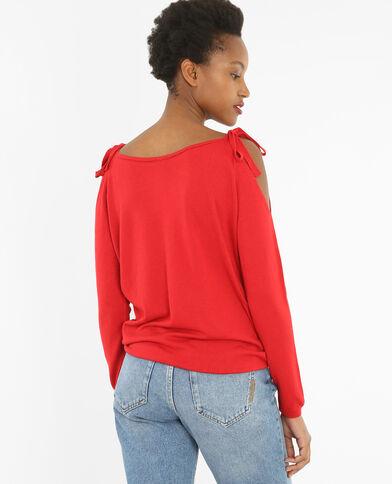 Schulterfreier Pullover Rot