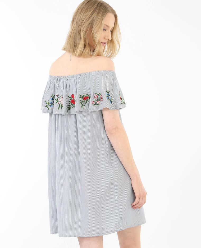 Gestreiftes Kleid mit Bardot-Ausschnitt Blau