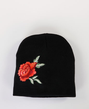 Bonnet à patch rose noir