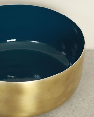 Piatto laccato bicolore blu petrolio