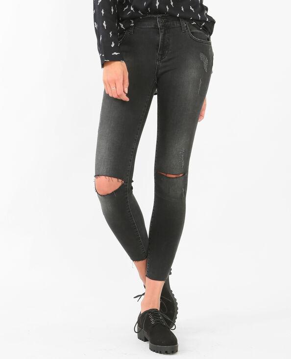 Slim-Jeans mit hoher Taille Schwarz