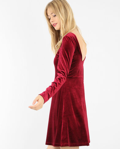 Skater-Kleid aus Velours Granatrot