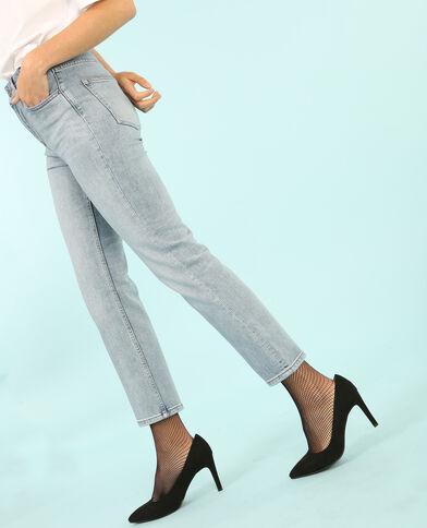 Jeans rectos de talle alto azul