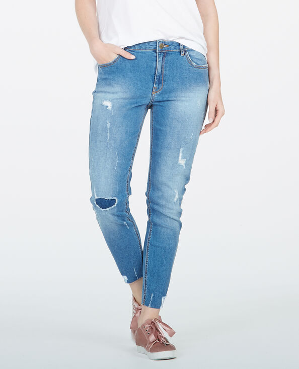 Skinny Destroy-Jeans Blau