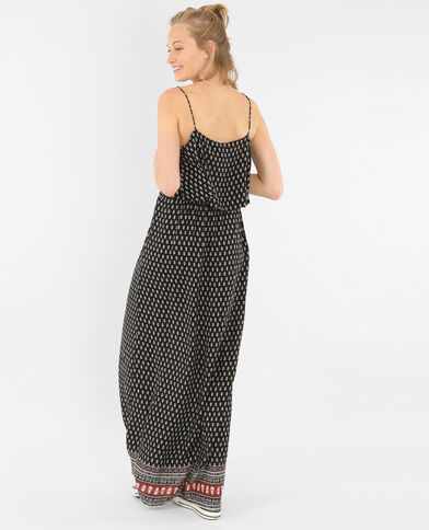 Longue robe imprimée noir