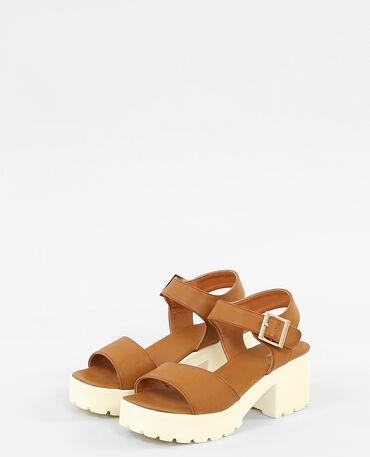 Sandalen met ingekeepte zolen kastanjebruin