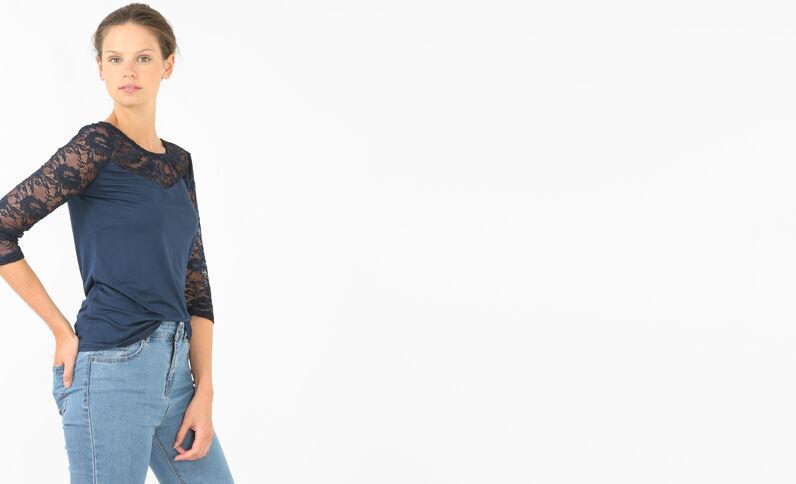 T-shirt in pizzo blu marino