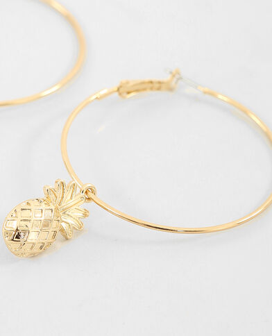 Orecchini ad anello ananas dorato