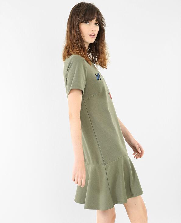 Vestido sudadera con parches verde