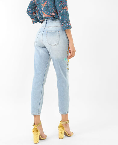 Mom-Jeans mit Stickereien Blau