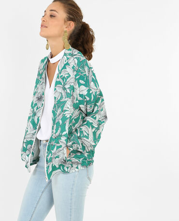 Bomber imprimé tropical vert