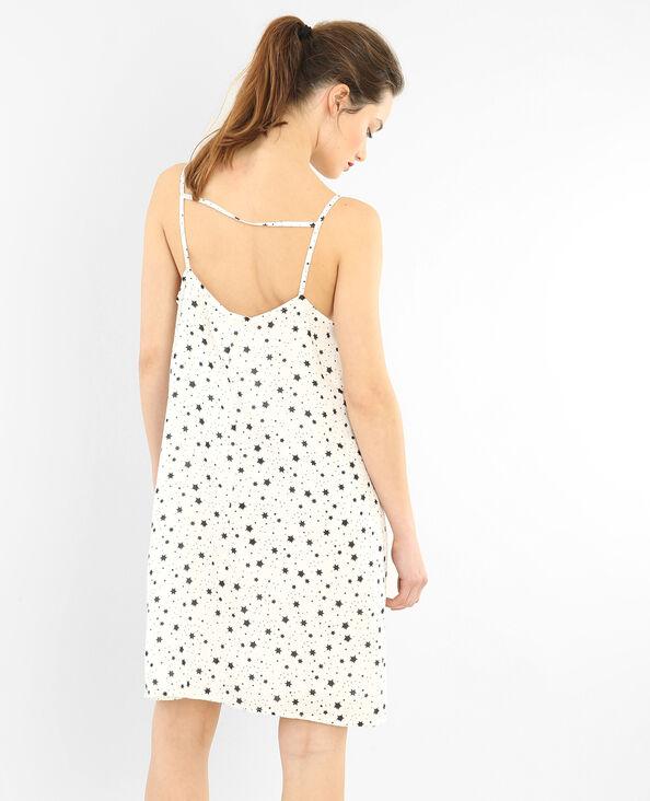 Bedrucktes Kleid Altweiß