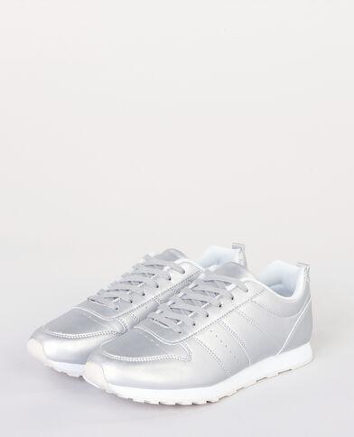 Scarpe da basket fashion metallizzate grigio paillettato