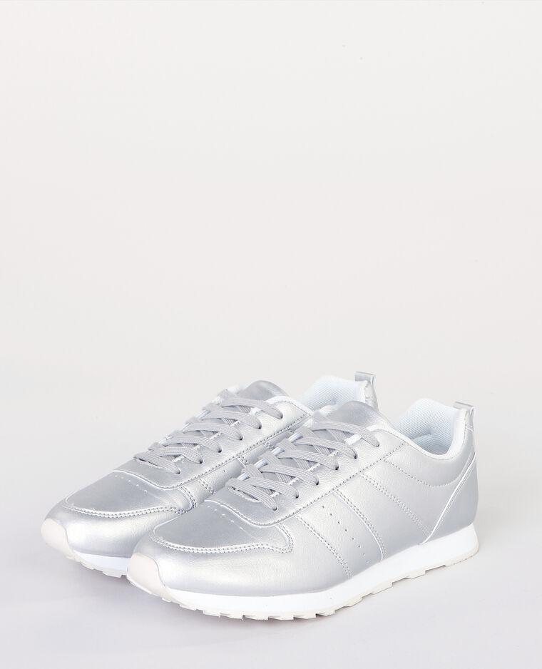 Deportivas de moda metalizadas gris brillante
