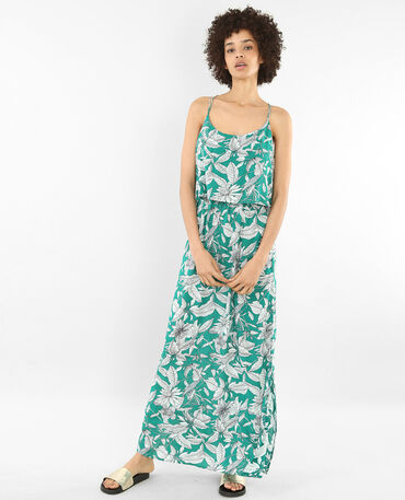 Bedrucktes langes Kleid mit gekreuztem Rückenteil Grün