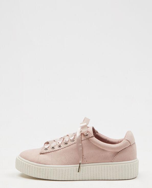 Baskets à plateforme crantée rose poudré