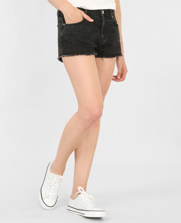 Short taille haute frangé noir