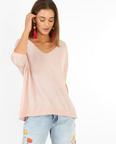 Pullover aus Lurex Rosa