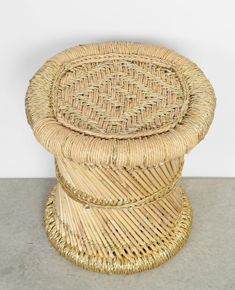 petit tabouret tress en bambou beige 30 904101g06c0g pimkie. Black Bedroom Furniture Sets. Home Design Ideas