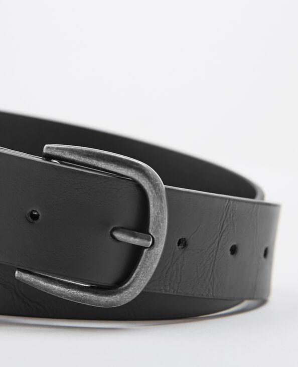 Cinturón de piel sintética negro