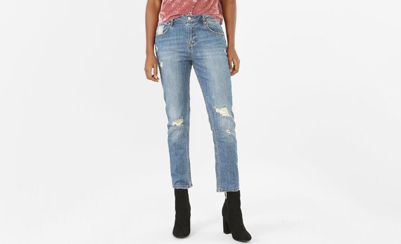 Jeans relax a vita alta destroy blu denim