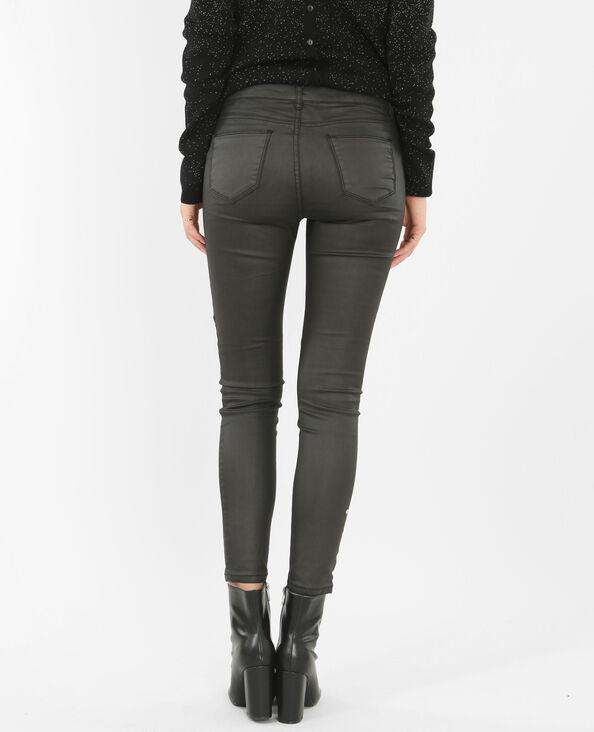 Skinny enduit zippé noir