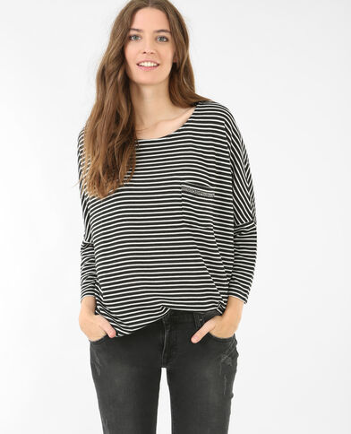 T-Shirt mit Strass an der Brusttasche Schwarz